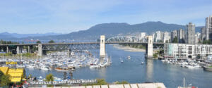 Vancouver Burrard Bridge view from above Granville Island Public Market
